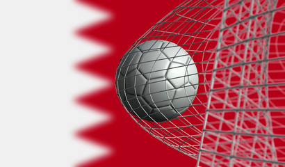 Soccer ball scores a goal in a net against Bahrain flag. 3D Rendering