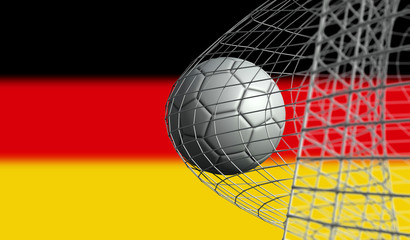 Soccer ball scores a goal in a net against Germany flag. 3D Rendering