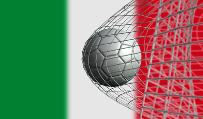 Soccer ball scores a goal in a net against Italy flag. 3D Rendering