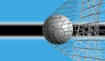 Soccer ball scores a goal in a net against Botswana flag. 3D Rendering
