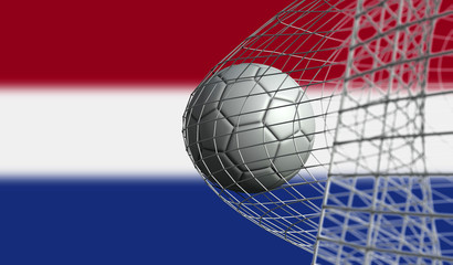 Soccer ball scores a goal in a net against Netherlands flag. 3D Rendering