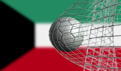 Soccer ball scores a goal in a net against Kuwait flag. 3D Rendering