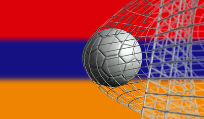 Soccer ball scores a goal in a net against Armenia flag. 3D Rendering