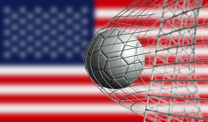 Soccer ball scores a goal in a net against USA flag. 3D Rendering