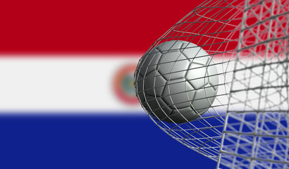 Soccer ball scores a goal in a net against Paraguay flag. 3D Rendering