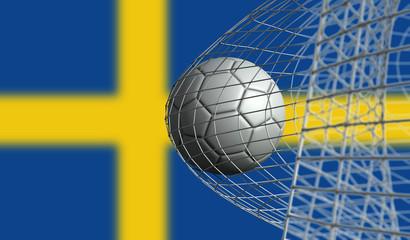 Soccer ball scores a goal in a net against Sweden flag. 3D Rendering
