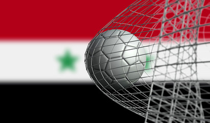Soccer ball scores a goal in a net against Syria flag. 3D Rendering