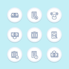 Bookkeeping icons in linear style, accounting, tax, payroll, outlay, costs