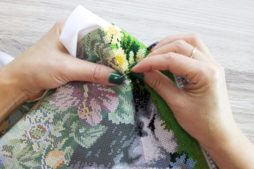 Process of embroidery with beads