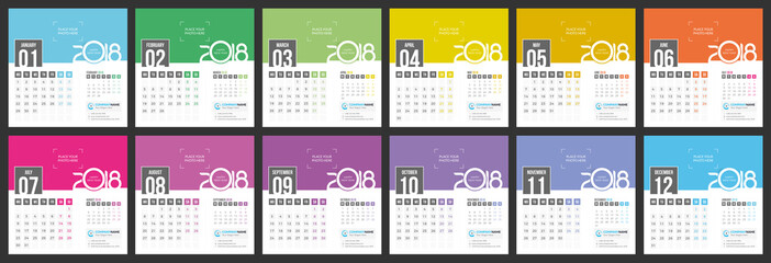 Desk Calendar 2018 - Vector template of 12 Months with Place for Photo, Logo and Info Contact