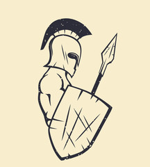 spartan with spear and shield, strong greek warrior in helmet