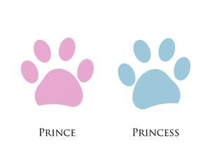 Dog paw print. Girl, Boy. Prince, Princess