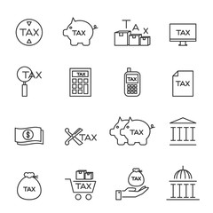 tax icons line silhouette vector