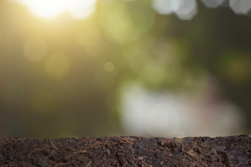 soil for growing with sunlight bokeh background. concept agriculture.