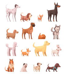 Dog Breeds Retro Cartoon Icons Collection