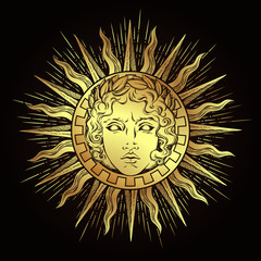 Hand drawn antique style sun with face of the greek and roman god Apollo. Flash tattoo or print design vector illustration
