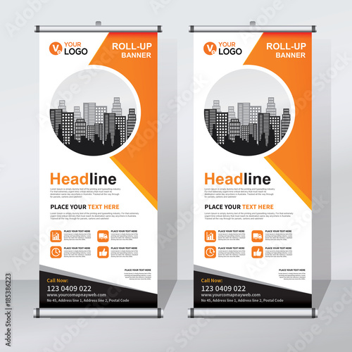 Roll Up Banner Design Template Abstract Background Pull Modern X Rectangle Size