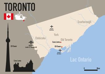 Toronto - plan de Toronto - Carte - ville - Canada -CN Tower - monument - voyage - tourisme
