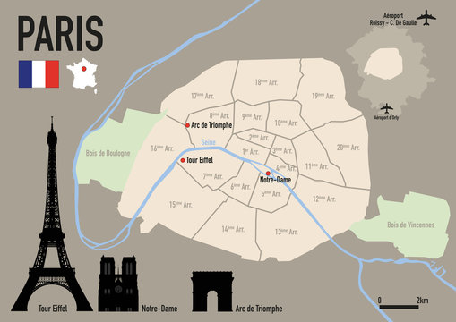 Paris - plan de Paris - Carte - ville - arrondissement - France - Tour Eiffel