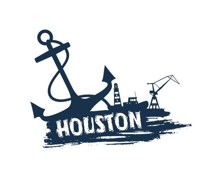 Anchor, lighthouse, ship and crane icons on brush stroke. Calligraphy inscription. Houston cargo port name.
