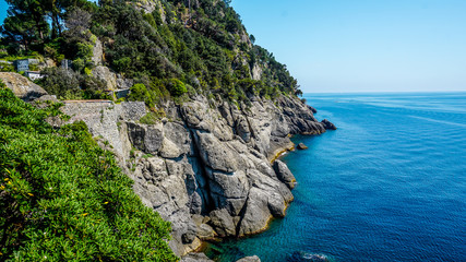 Vibrant blue ocean around Portofino, Italy