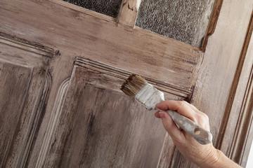patine peinture porte intérieur décoration maison