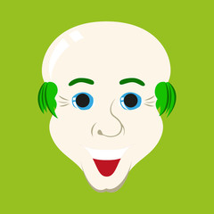 flat icons on theme funny bald-headed man