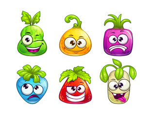 Cute comic colorful fruit characters on white background.
