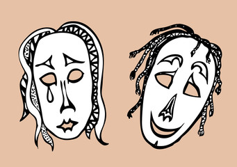 Sad and cheerful masks