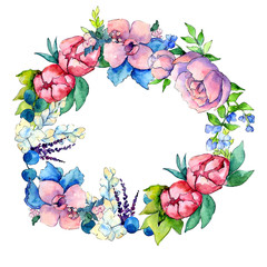 Flower composition  wreath in a watercolor style. Full name of the plant:  peony,orchid. Aquarelle wild flower for background, texture, wrapper pattern, frame or border.