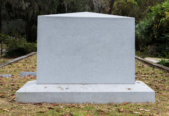 Empty Marble Gravestone in Historic Cemetery