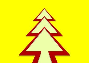 Christmas tree in the form of a red arrow on a yellow background