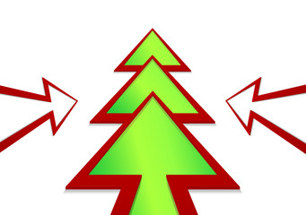 Christmas tree in the form of a arrow on a white background