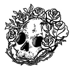 Line art illustration. Scary skull and flowers. Vintage print for St. Valentine s Day. Sketch for tattoo, hipster t-shirt design, vintage style posters.