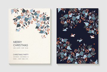 Christmas and new year party invitation card set