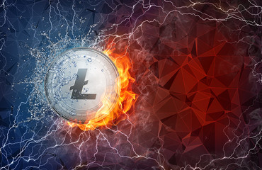 Golden Litecoin coin in fire flame, water splashes and lightning. Litecoin blockchain hard fork concept. Cryptocurrency symbol in storm with peer to peer network polygon background.