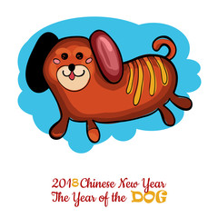 Cute dog Year Greeting card material 2018
