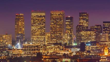 Fotobehang - Zoom in Century City skyline twilight night transition Los Angeles 4K Timelapse