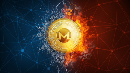 Golden Monero coin in fire flame, water splashes and lightning. Monero blockchain hard fork concept. Cryptocurrency symbol in storm with peer to peer network polygon background.