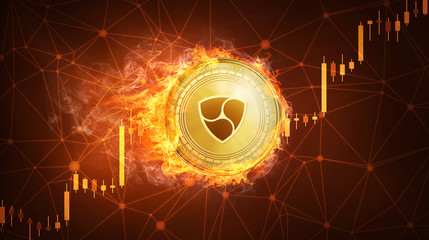 Golden NEM coin in fire with bull trading stock chart. NEM blockchain token grows in price on stock market concept. Cryptocurrency coin on polygon peer to peer network background.