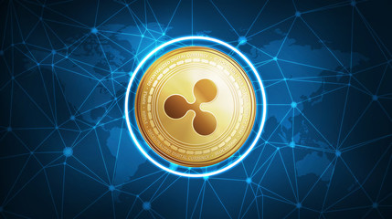 Ripple symbol on futuristic hud polygon background with world map and blockchain peer to peer network. Global cryptocurrency and ICO initial coin offering business banner concept.