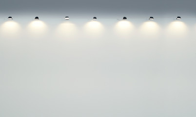 Empty Gallery Wall with Spotlights