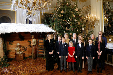 Belgium's King Philippe, Queen Mathilde, Princess Claire, Princess Astrid, Prince Lorenz and their children pose in front of a Christmas tree at the Brussels Royal Palace