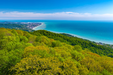 The coast of the city on the Black Sea aerial view against the azure sea and a light sky, a dense green forest close-up on a mountainside. Adler district from the Akhun mountain, Sochi, Russia.
