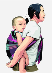 mother holding her kid with a bead sheet and walking