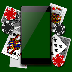 Modern phone on playing cards and casino chips background