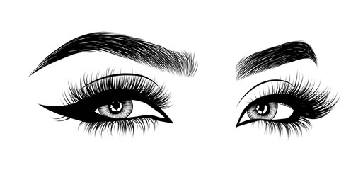 Hand-drawn woman's sexy luxurious eye with perfectly shaped eyebrows and full lashes. Idea for business visit card, typography vector.Perfect salon look.