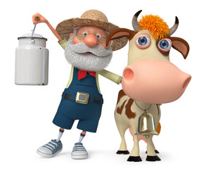 3d illustration the farmer with a cow