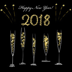 New Year celebration design with hand drawn champagne glasses, in golden, white and black colors