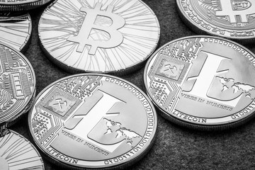bitcoin and altcoin crypto currency, macroview at black and white